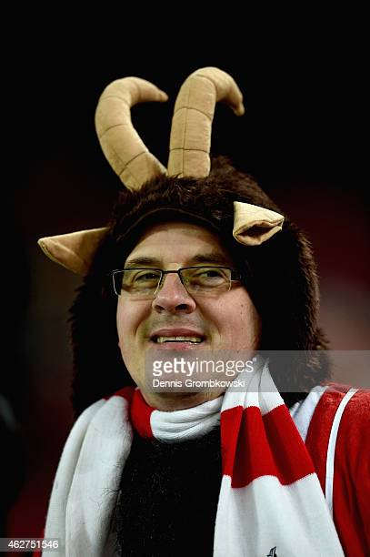 Koeln supporter is dressed as the club's mascot 'Hennes VIII' during the Bundesliga match between 1 FC Koeln and VfB Stuttgart at RheinEnergieStadion...