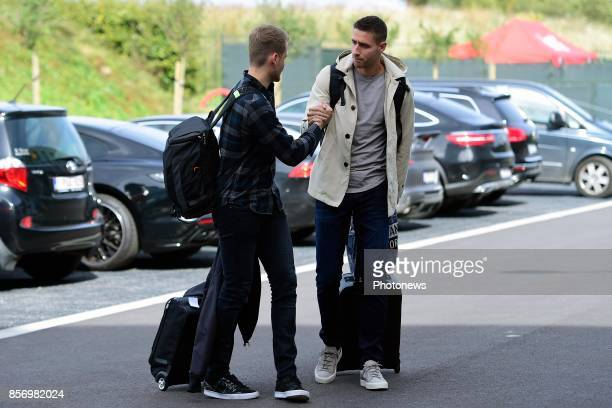 Koen Casteels goalkeeper of Belgium and Simon Mignolet goalkeeper of Belgium arriving at the Martin's Red hotel prior to the World Cup 2018...