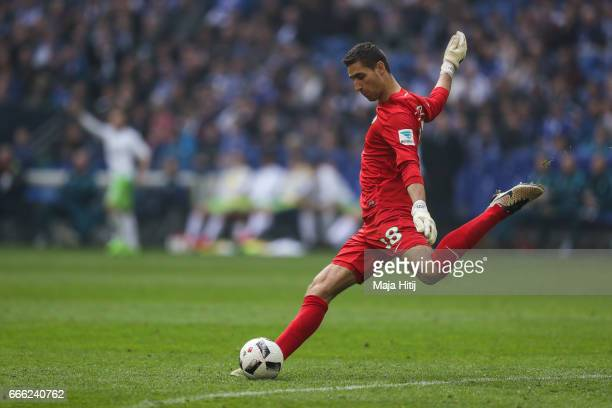 Koen Casteels goalkeeper of Wolfsburg controls the ball during the Bundesliga match between FC Schalke 04 and VfL Wolfsburg at VeltinsArena on April...