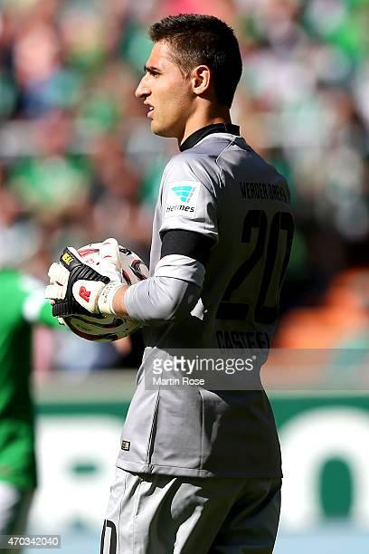 Koen Casteels keeper of Bremen looks on during the Bundesliga match between SV Werder Bremen and Hamburger SV at Weserstadion on April 19 2015 in...