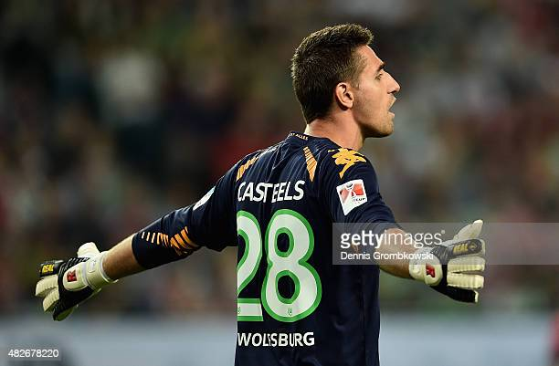 Koen Casteels of VfL Wolfsburg reacts during the DFL Supercup 2015 match between VfL Wolfsburg and FC Bayern Muenchen at Volkswagen Arena on August 1...