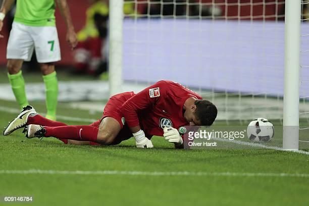 Koen Casteels of Wolfsburg appears frustrated during the Bundesliga match between VfL Wolfsburg and Borussia Dortmund at Volkswagen Arena on...