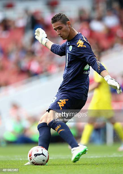 Koen Casteels of Wolfsburg kicks the ball upfield during the Emirates Cup match between VfL Wolfsburg and Villareal at the Emirates Stadium on July...