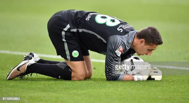 Koen Casteels of Wolfsburg looks dejected during the Bundesliga match between VfL Wolfsburg and Bayern Muenchen at Volkswagen Arena on April 29 2017...
