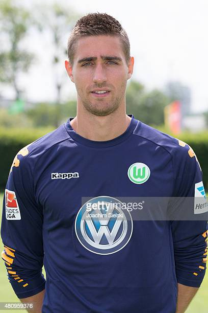 Koen Casteels poses during the team presentation of VfL Wolfsburg at Volkswagen Arena on July 16 2015 in Wolfsburg Germany
