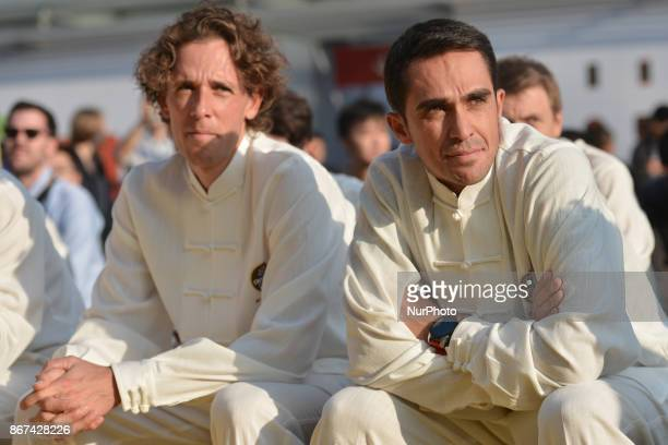 Koen DE KORT and Alberto CONTADOR from TrekSegafredo team wear traditional Chinese dresses during the 1st TDF Shanghai Criterium 2017 Media Day On...