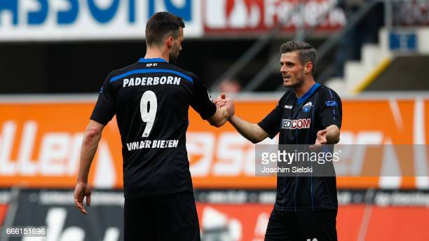 Koen van der Biezen and Marc Vucinovic of Paderborn after the third league match between SC Paderborn and FSV Frankfurt at Benteler Arena on April 8...