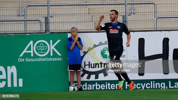 Koen van der Biezen of Paderborn celebrate his goal 12 for Paderborn during the 3 Liga match between Sportfreunde Lotte and SC Paderborn 07 at Frimo...