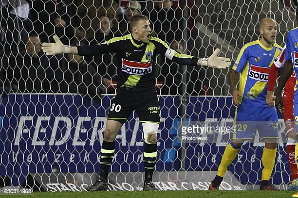 Koen Van Langendonck goalkeeper of KVC Westerlo during the Jupiler Pro League match between Royal Excel Mouscron and KVC Westerlo at Le Cannonier...
