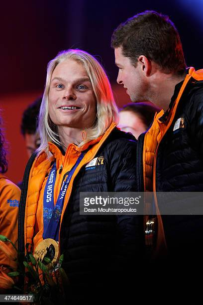 Koen Verweij and Sven Kramer celebrate on the main stage during the Welcome Home Reception Held For Dutch Winter Olympic Athletes on February 24 2014...
