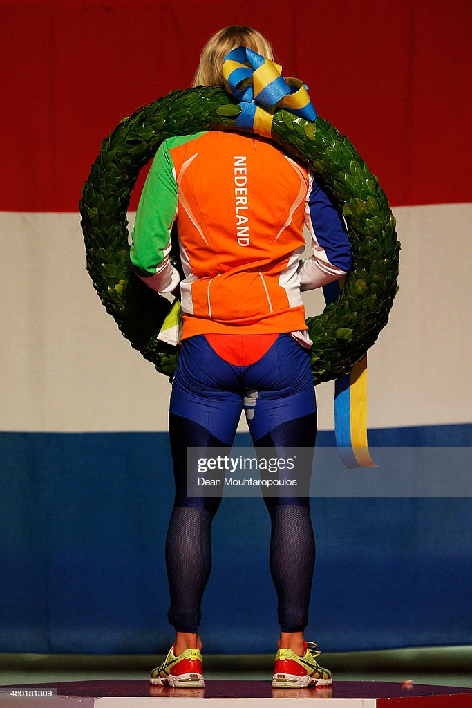 Koen Verweij of The Netherlands celebrates after winning the overall standings during day two of the Essent ISU World Allround Speed Skating Championships at the Thialf Stadium on March 23, 2014 in Heerenveen, Netherlands.