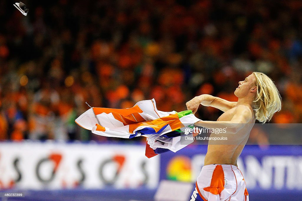 Koen Verweij of The Netherlands celebrates after winnning the overall standings during day two of the Essent ISU World Allround Speed Skating Championships at the Thialf Stadium on March 23, 2014 in Heerenveen, Netherlands.