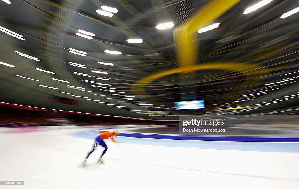 Koen Verweij of the Netherlands competes in the Mens 5000m race during day one of the Essent ISU World Allround Speed Skating Championships at the Thialf Stadium on March 22, 2014 in Heerenveen, Netherlands.