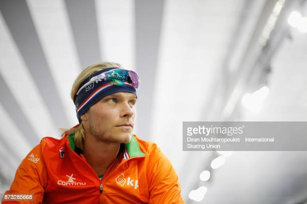 Koen Verweij of the Netherlands gets ready to compete in the Mens 1000m race on day three during the ISU World Cup Speed Skating held at Thialf on...