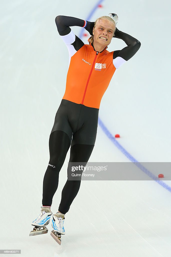 Koen Verweij of the Netherlands reacts after competing in the Men's 1500m Speed Skating event on day 8 of the Sochi 2014 Winter Olympics at Adler Arena Skating Center on February 15, 2014 in Sochi, Russia.