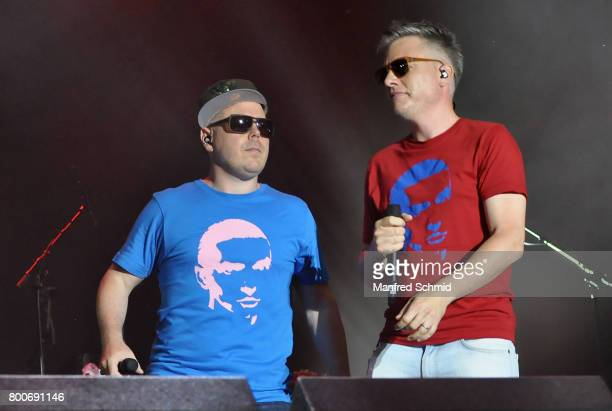 Koenig Boris and Dokter Renz of Fettes Brot perform on stage a 'Falco Tribute' during the Day 2 at Donauinselfest 2017 at Donauinsel on June 24 2017...