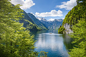 Tourist boat on lake Koenigsee seen from Malerwinkl, Berchtesgaden, Bavaria, Germany