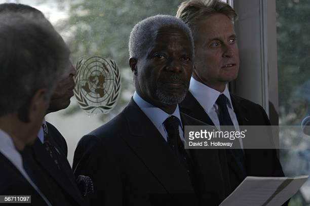 Kofi Annan and actor Michael Douglas attend the United Nations Day Of Peace September 19 2003 in New York City