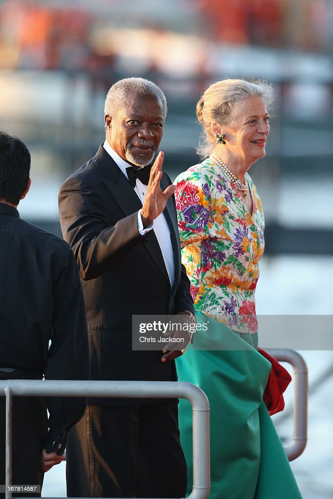Kofi Annan and Maria Anna arrive at the Muziekbouw following the water pageant after the abdication of Queen Beatrix of the Netherlands and the Inauguration of King Willem Alexander of the Netherlands on April 30, 2013 in Amsterdam, Netherlands.