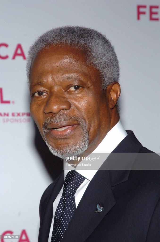 <a gi-track='captionPersonalityLinkClicked' href=/galleries/search?phrase=Kofi+Annan&family=editorial&specificpeople=169832 ng-click='$event.stopPropagation()'>Kofi Annan</a> during 4th Annual Tribeca Film Festival - The Interpreter Premiere - Arrivals at Ziegfeld Theater in New York City, New York, United States.