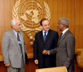 Kofi Annan Secretary General of the United Nations meets with M Nasser AlKidwa Foreign Minister Palestinian Authority