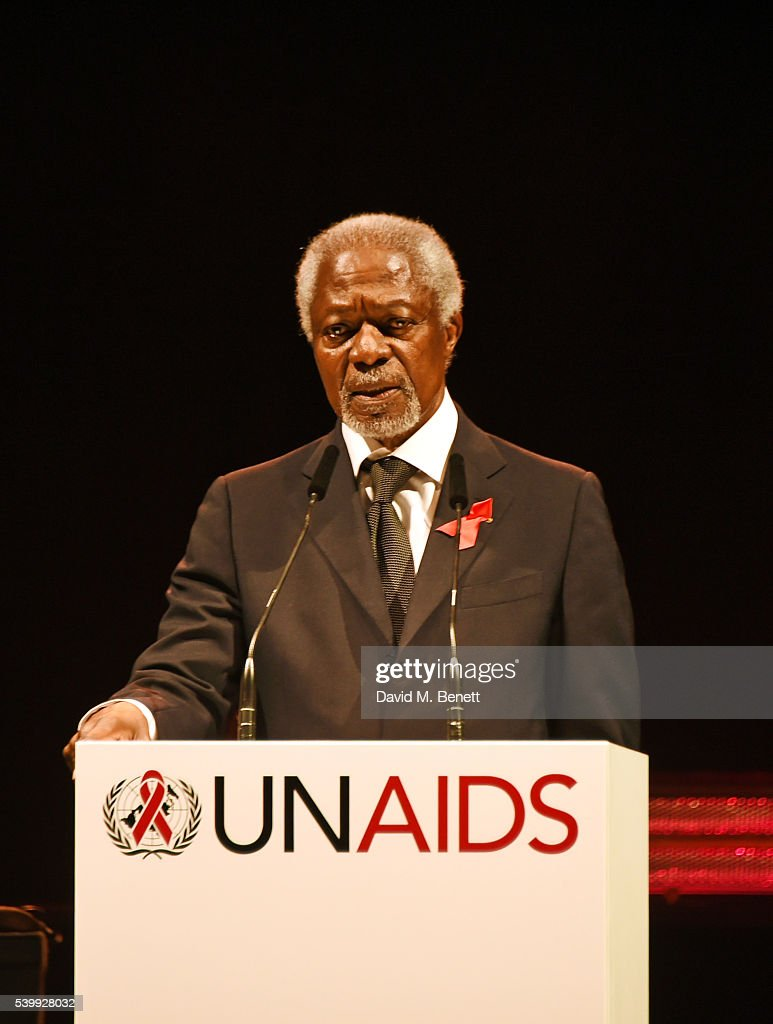 Kofi Annan speaks on stage at the UNAIDS Gala during Art Basel 2016 at Design Miami/ Basel on June 13, 2016 in Basel, Switzerland.