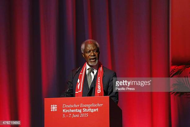 Kofi Annan the former SecretaryGeneral of the UN speaks at the 35th German Protestant Church Congress Kofi Annan the former SecretaryGeneral of the...