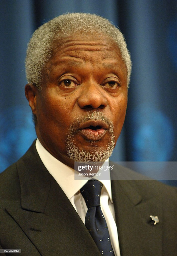 <a gi-track='captionPersonalityLinkClicked' href=/galleries/search?phrase=Kofi+Annan&family=editorial&specificpeople=169832 ng-click='$event.stopPropagation()'>Kofi Annan</a>, United Nations Secretary-General during Shawn 'Jay-Z' Carter, The United Nations and MTV Unite to Address the World Water Crisis - August 9, 2006 at The United Nations in New York City, New York, United States.