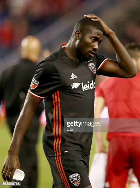 Kofi Opare of DC United reacts to the loss to the New York Red Bulls at Red Bull Arena on April 15 2017 in Harrison New JerseyThe New York Red Bulls...