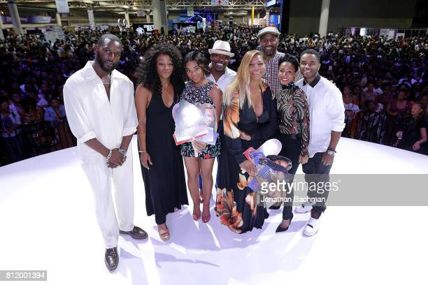 Kofi Siriboe Tiffany Haddish Regina Hall Will Packer Queen Latifah Malcolm Lee Jada Pinkett Smith and Larenz Tate from the movie Girls Trip pose for...
