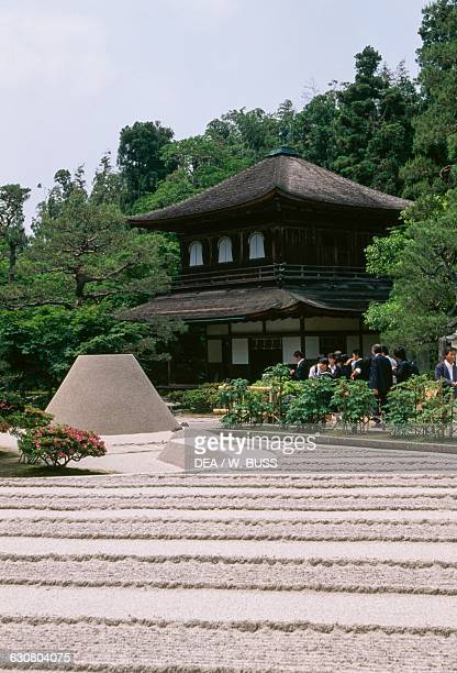 Kogetsudai or Moonviewing platform cone shaped structure in a dry garden near the pond Ginkakuji temple or Temple of the Silver pavilion Kyoto Kansai...