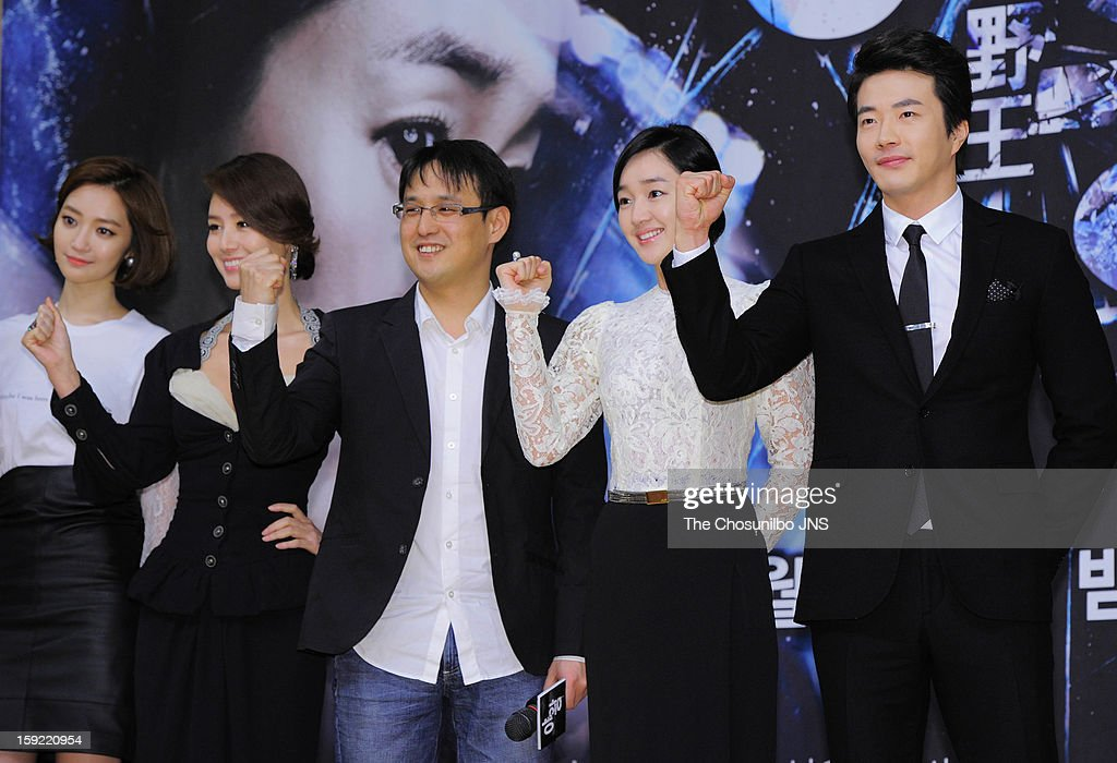 Koh Joon-Hee, Kim Sung-Ryeong, director Jo Young-Kwang, Suae and <a gi-track='captionPersonalityLinkClicked' href=/galleries/search?phrase=Kwon+Sang-Woo&family=editorial&specificpeople=4141886 ng-click='$event.stopPropagation()'>Kwon Sang-Woo</a> attend the SBS Drama 'Yawang' press conference at SBS Building on January 9, 2013 in Seoul, South Korea.