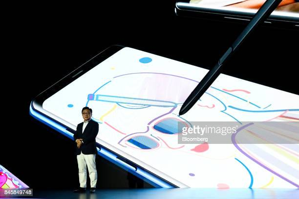 DJ Koh president of mobile communications at Samsung Electronics Co speaks during a media event for the company's Galaxy Note 8 smartphone in Seoul...