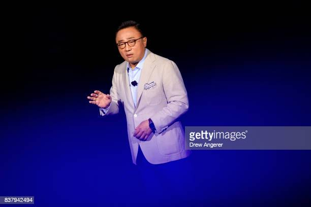 Koh president of mobile communications business at Samsung speaks about the new Samsung Galaxy Note8 smartphone during a launch event for the new...
