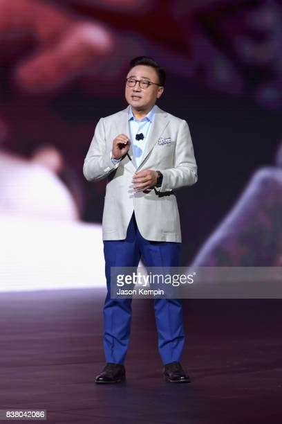 Koh President of Mobile Communications Business Samsung Electronics unveils the Galaxy Note8 during Unpacked at Park Avenue Armory on August 23 2017...