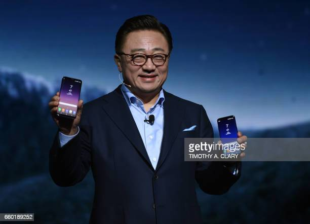 DJ Koh Samsung President Mobile Communications Business introduces the new Samsung S8 and S8 Plus during a news conference on March 29 2017 in New...