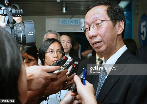 Koh Tsu Koon chief of the Barisan Nasional party in the state of Penang speaks to the media at a news conference in Georgetown Penang Malaysia on...