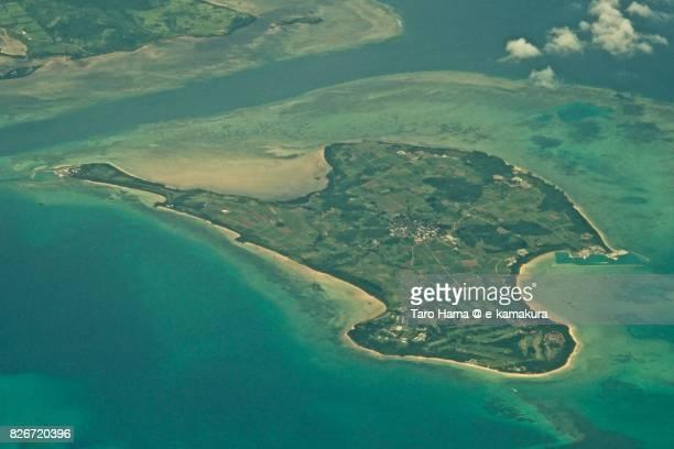Kohamajima island in Okinawa prefecture day time aerial view from airplane
