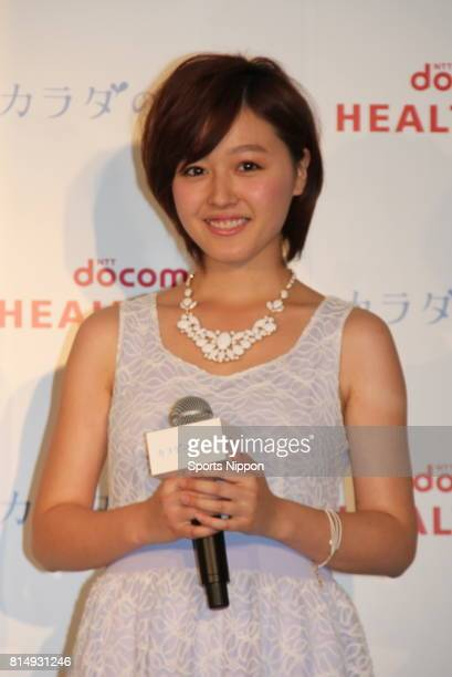 Koharu Kusumi former member of Japanese Idol group Morning Musume attends NTT Docomo health care PR event on June 5 2013 in Tokyo Japan