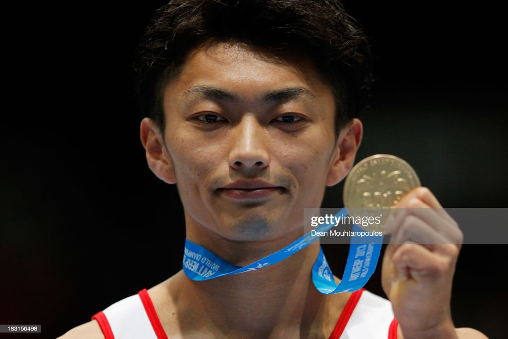 Kohei Kameyama of Japan poses after winning the gold medal in the Pommel Horse Final on Day Six of the Artistic Gymnastics World Championships Belgium 2013 held at the Antwerp Sports Palace on October 5, 2013 in Antwerpen, Belgium.