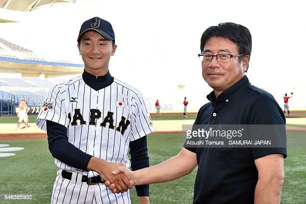 Kohei Miyadai of Japan and Kensuke Okoshi of Japan shake hands on the day 1 match between Japan and USA during the 40th USAJapan International...