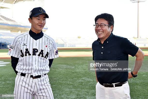Kohei Miyadai of Japan and Kensuke Okoshi of Japan smile on the day 1 match between Japan and USA during the 40th USAJapan International Collegiate...