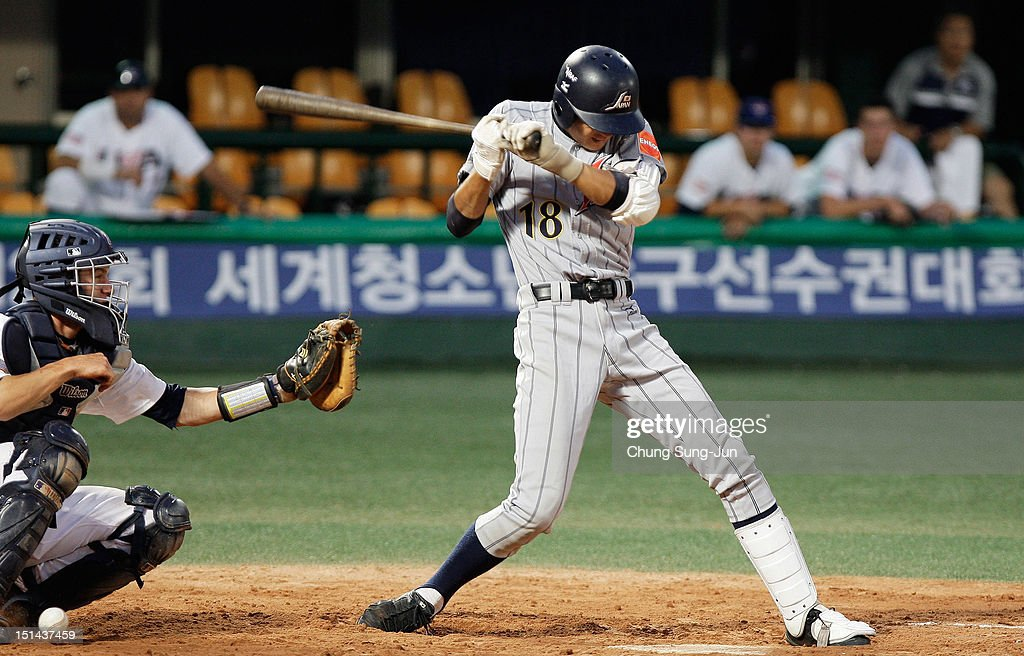 Kohei Sasagawa of Japan is hit by a pitch during the U18 Baseball World Championship match between Japan and the United States at Mokdong stadium on September 7, 2012 in Seoul, South Korea.
