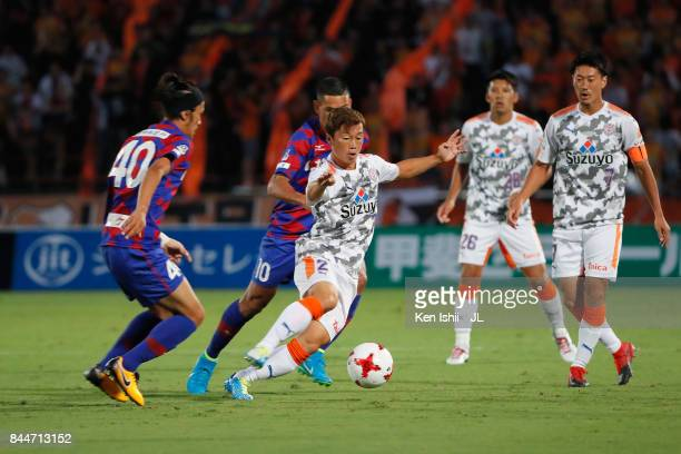 Kohei Shimizu of Shimizu SPulse controls the ball under pressure of Ventforet Kofu defense during the JLeague J1 match between Ventforet Kofu and...