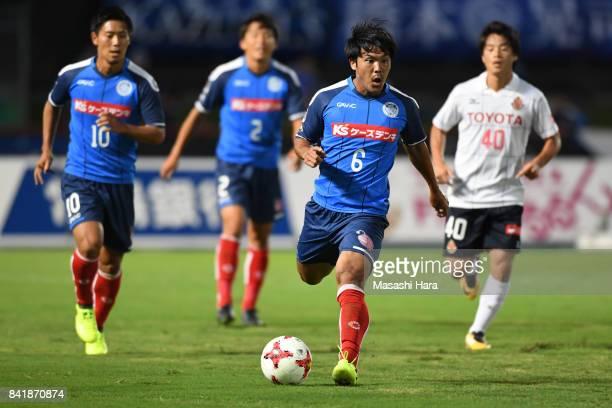Kohei Uchida of Mito Hollyhock in action during the JLeague J2 match between Mito Hollyhock and Nagoya Grampus at K's Denki Stadium on September 2...