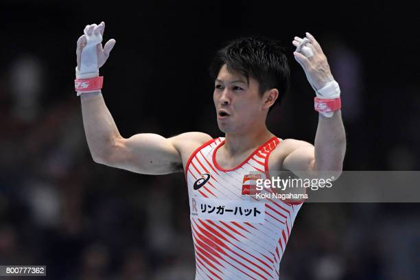 Kohei Uchimura applouds fans in the Horizontal Bar during Japan National Gymnastics Apparatus Championships at the Takasaki Arena on June 25 2017 in...