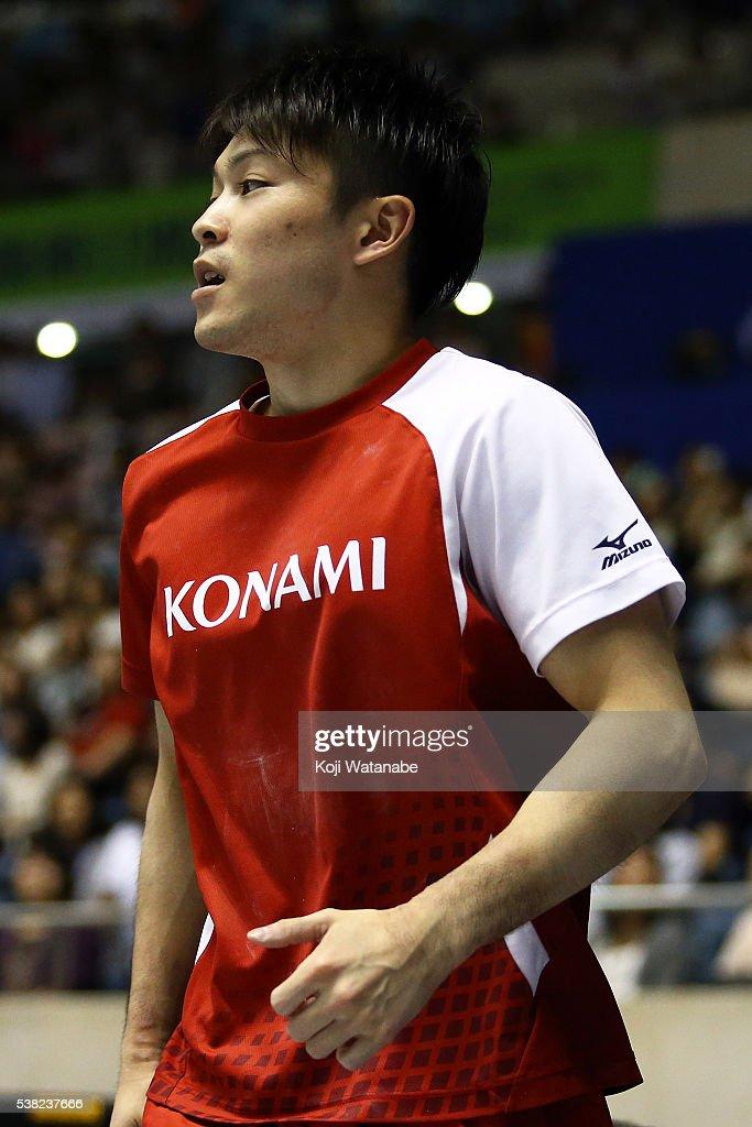 Kohei Uchimura celebrates during the All-Japan Gymnastic Appratus Championships at Yoyogi National Gymnasium on June 5, 2016 in Tokyo, Japan.