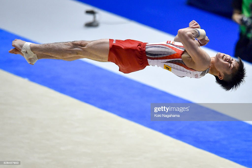 Kohei Uchimura competes in the Floor Exercise during the Artistic Gymnastics NHK Trophy at Yoyogi National Gymnasium on May 5, 2016 in Tokyo, Japan.