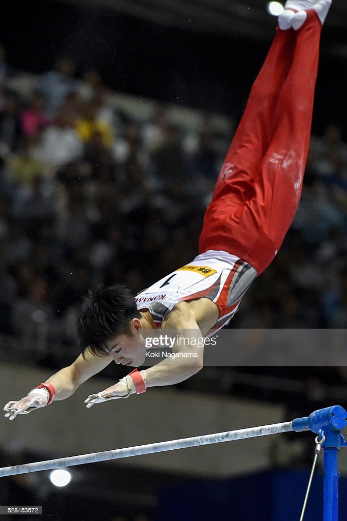 <a gi-track='captionPersonalityLinkClicked' href=/galleries/search?phrase=Kohei+Uchimura&family=editorial&specificpeople=5481263 ng-click='$event.stopPropagation()'>Kohei Uchimura</a> competes in the Horizontal Bar during the Artistic Gymnastics NHK Trophy at Yoyogi National Gymnasium on May 5, 2016 in Tokyo, Japan.