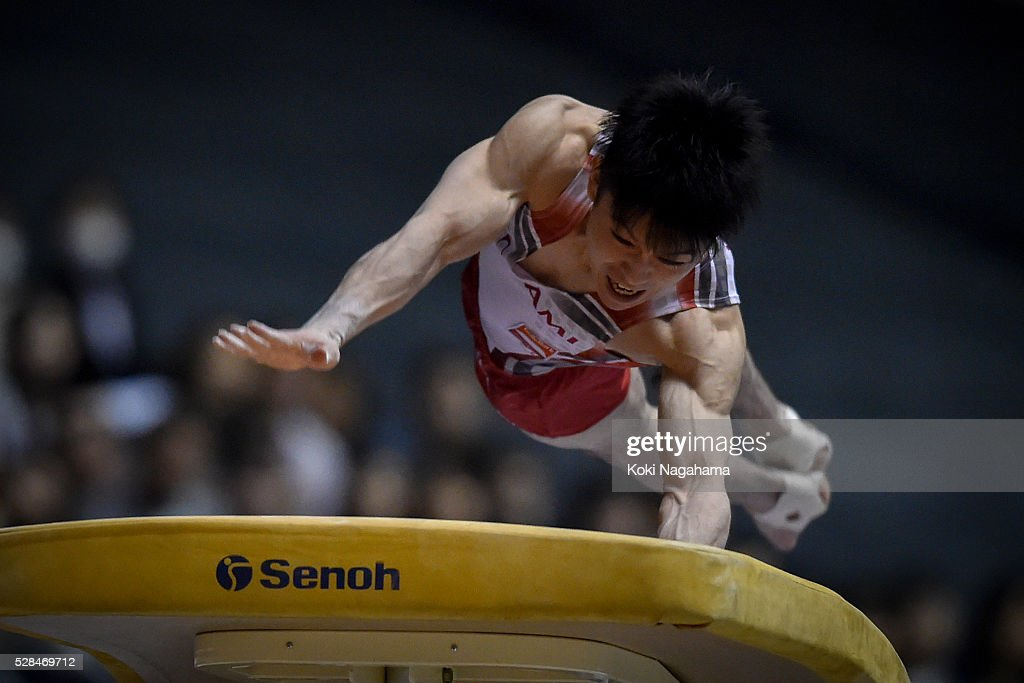 <a gi-track='captionPersonalityLinkClicked' href=/galleries/search?phrase=Kohei+Uchimura&family=editorial&specificpeople=5481263 ng-click='$event.stopPropagation()'>Kohei Uchimura</a> competes in the Horse Vault during the Artistic Gymnastics NHK Trophy at Yoyogi National Gymnasium on May 5, 2016 in Tokyo, Japan.